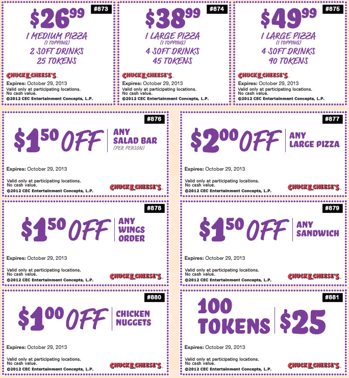 Online Chuck E Cheese Coupons | Coupon Valid