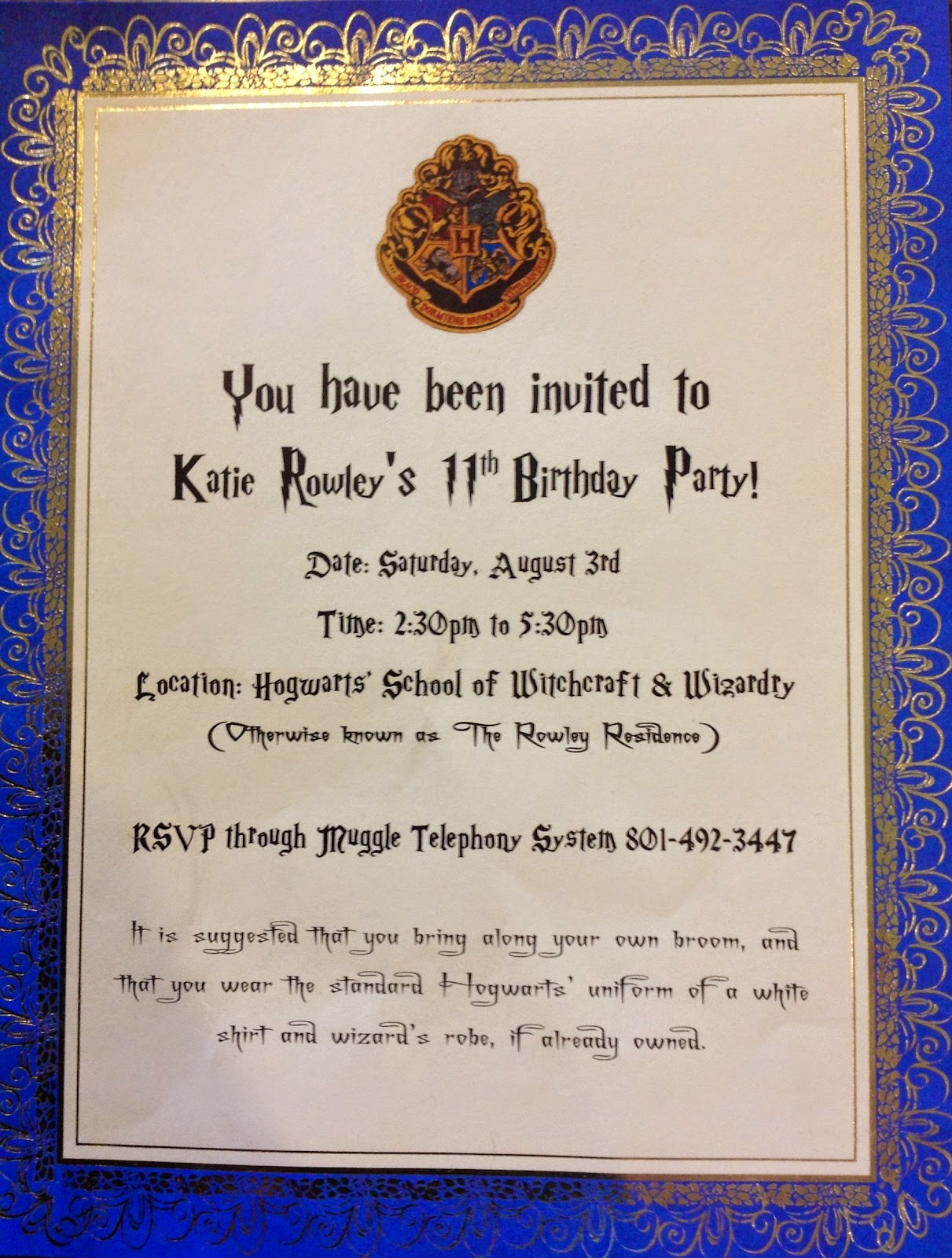 Puddle Wonderful Learning Harry Potter Birthday Party – Harry Potter Party Invitation