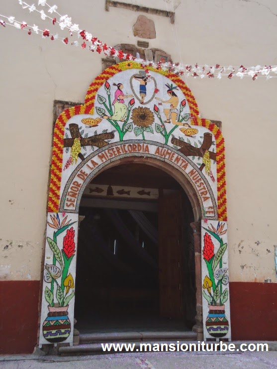 Entrance of the Church in Jaracuaro at Lake Patzcuaro
