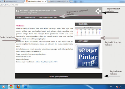 Halaman index buku tamu ala belajar pintar php