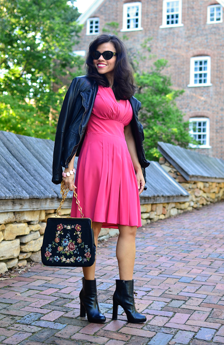 Pink dress street style outfit