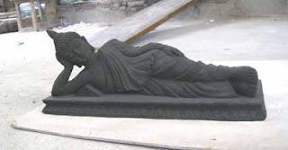 patung buddha batu baru dicetak resin_warna sangat hitam