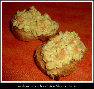 image Toasts de crevettes et chou blanc au curry