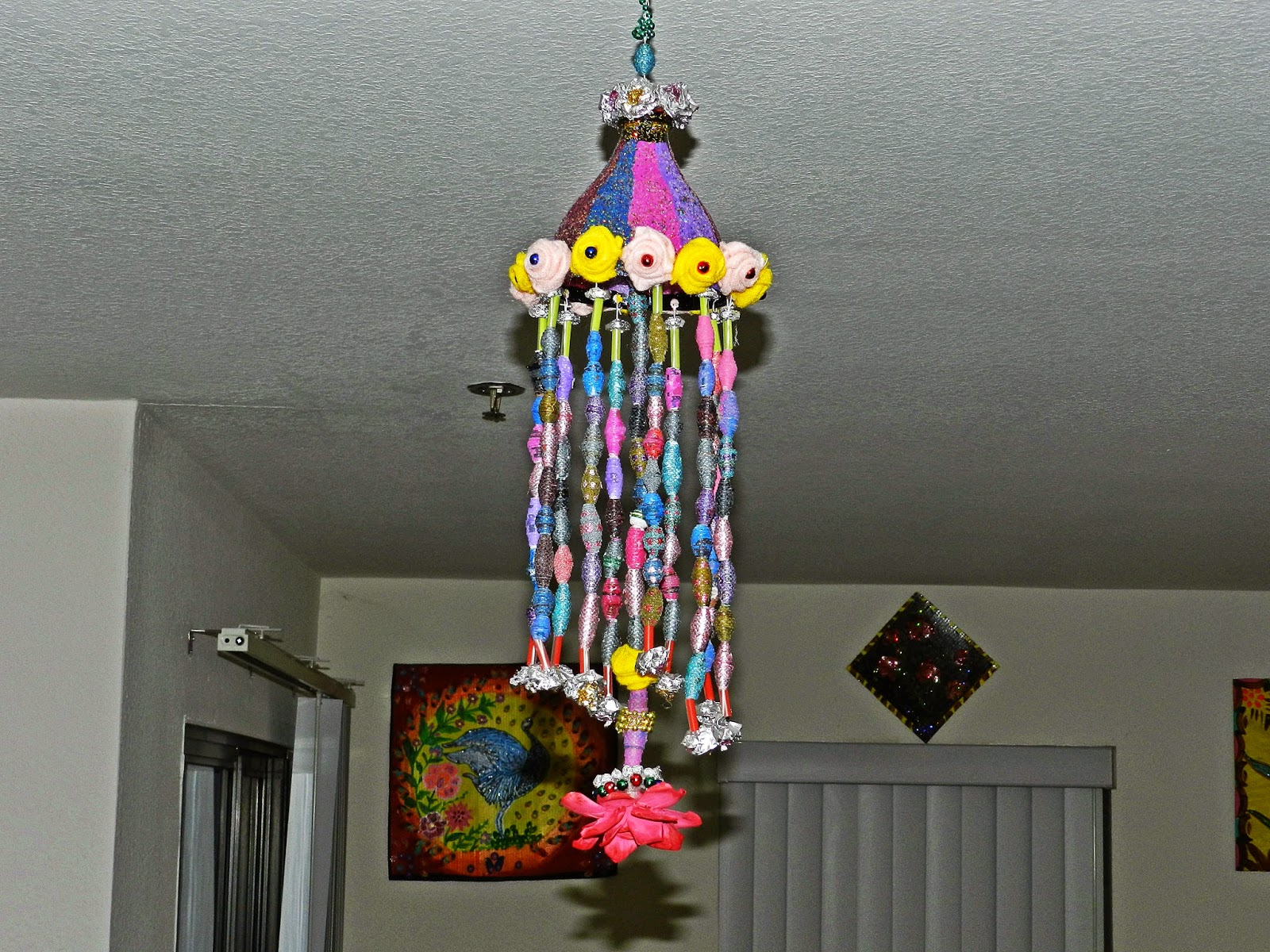 Creative diy crafts hanging craft made with coke bottle for Craft using waste bottles