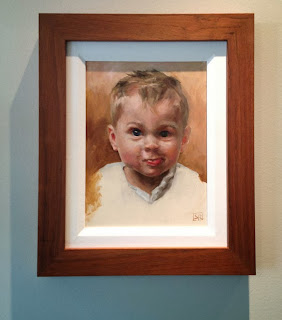 Max, portrait, oil on panel wooden frame, by portraitist Shannon Reynolds