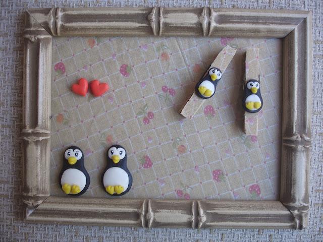Quadrinho Porta Recados, pinguins em biscuit