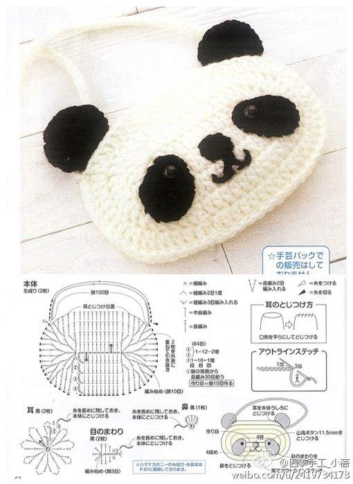 Patrón/ Pattern: carterita de oso panda / Panda bear bag | Tejido Facil