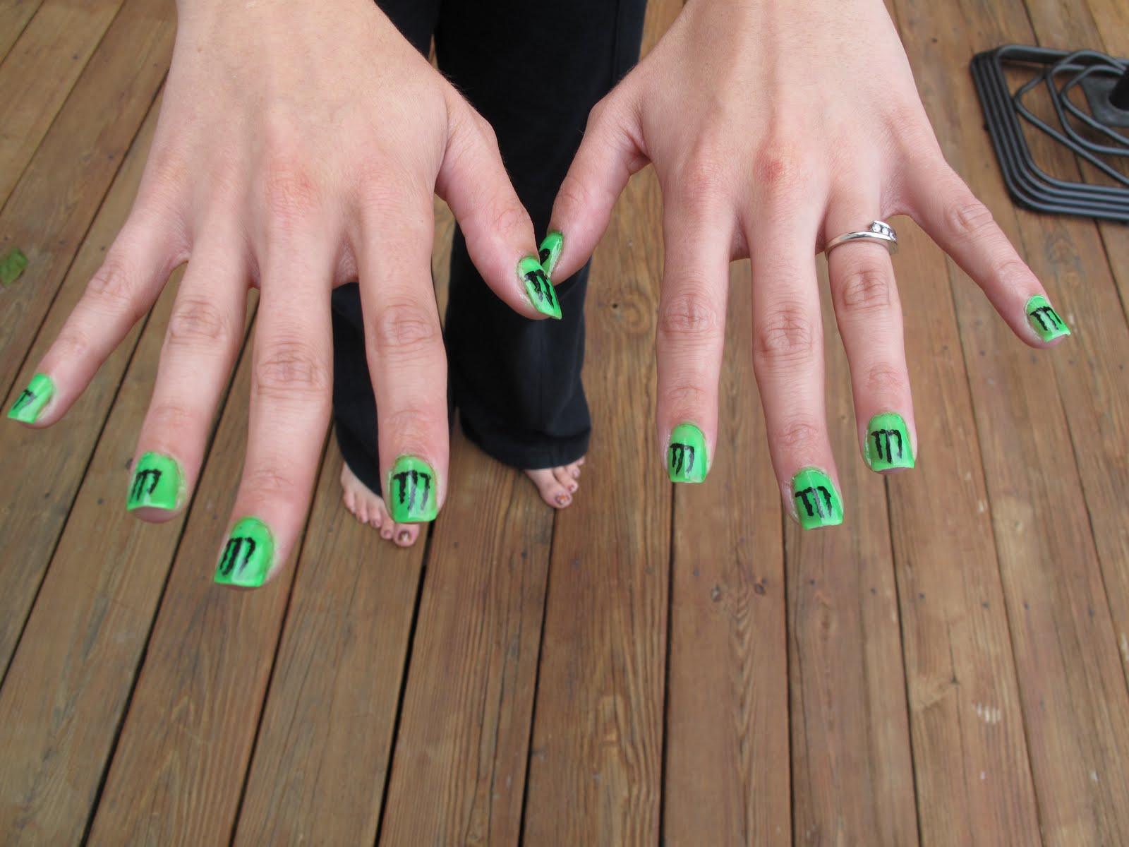 Nail Art Moster Nail Art Designs Green And Black Nail Polish