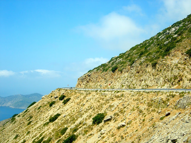 Narrow coastal mountain side road on Kefalonia, Greece