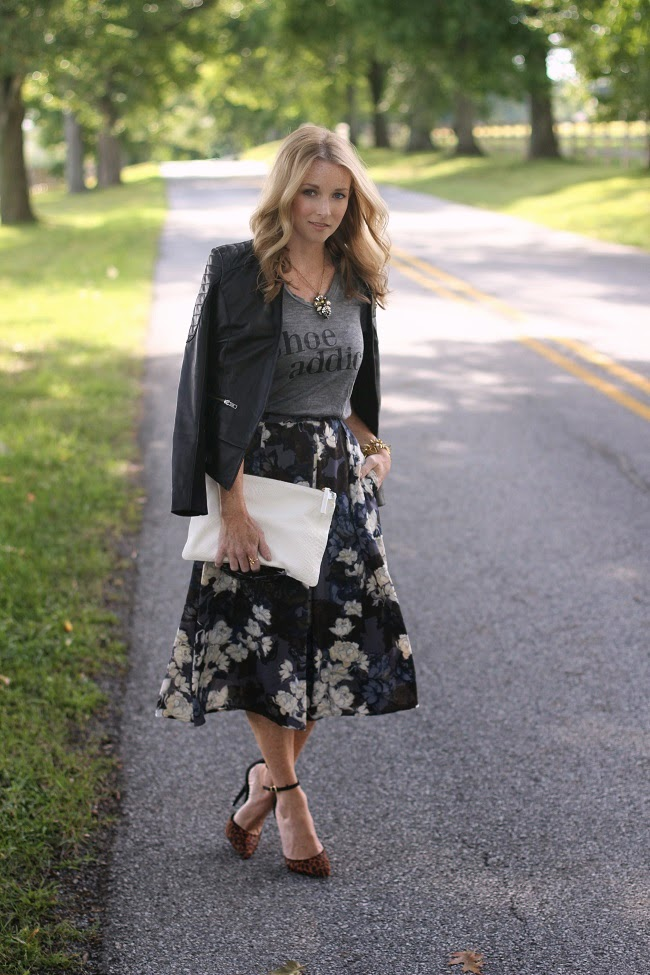 halogen leather jacket, ILY graphic tee, eighty-six floral skirt, schutz heels, clare v clutch, saint laurent sunglasses
