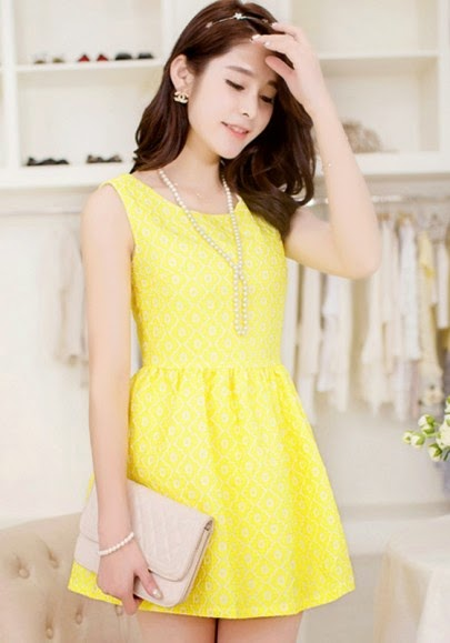 Bright Yellow Flowers Embroidery Sleeveless Dress