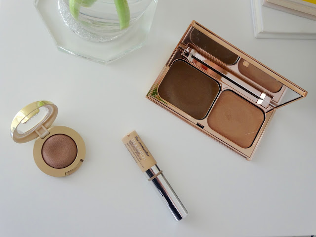 Milani Bella Eyes Gel Powder Eyeshadow in Cappuccino, Charlotte Tilbury Filmstar Bronze & Glow Sun Tan & Sun Glow and L'Oreal True Match Concealer in vanilla