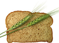 wheat spears laying across slice of whole wheat bread
