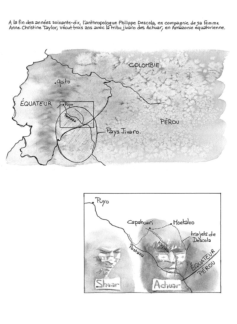 carte du pays Jivaro, Shuar, Achuar