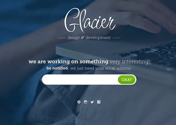 Free Coming Soon Page Template: Glacier