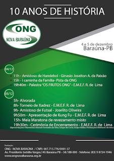 ONG Nova Baraúna festeja 10 anos nesta sexta e sábado (05)