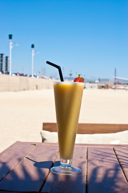 smoothie on a beach