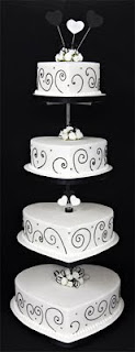 Black and White Heart Wedding Cakes