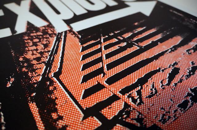 poster, riso, screenprint, propaganda, explore, urbex, urban exploring, manchester, arches, place hacking, half tone, urban, black, red, gritty, protest, revolution, graphic design, design, art, travel, adventure, craft