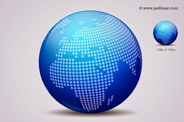 Glossy World Globe Icon PSD