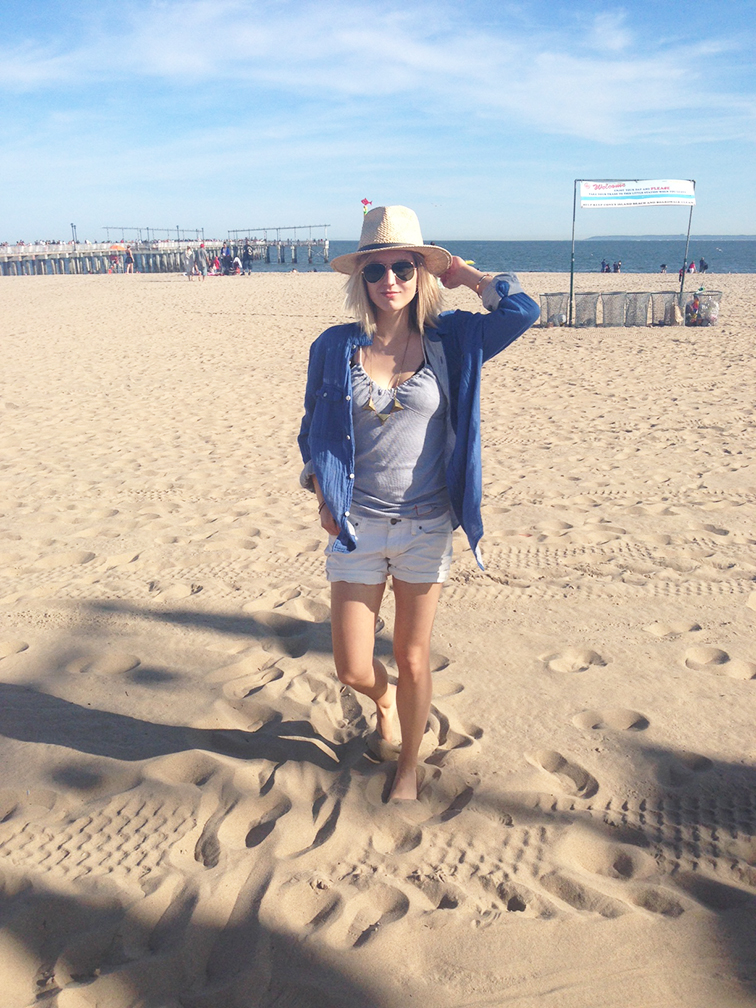 Coney Island beach, summer 2014, Gap white denim cutoff shorts and baby blue tank, H&M mens button down shirt, Dorfman Pacific straw hat, triangle stud necklace