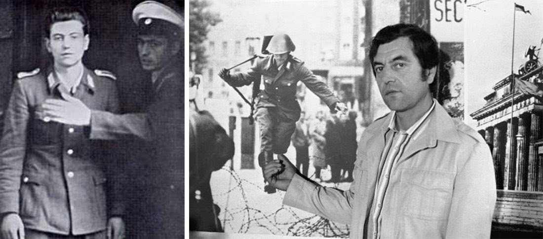 Conrad Schumann at the West Berlin police station, 1961 (left), Schumann in 1981 during the 20th anniversary of the wall (right).