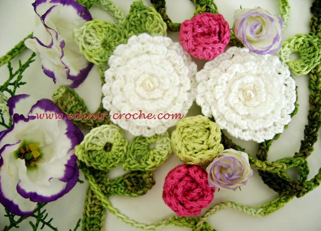 flores em croche enroladas coleção aprendi e ensinei dvd video aulas frete gratis com edinir-croche