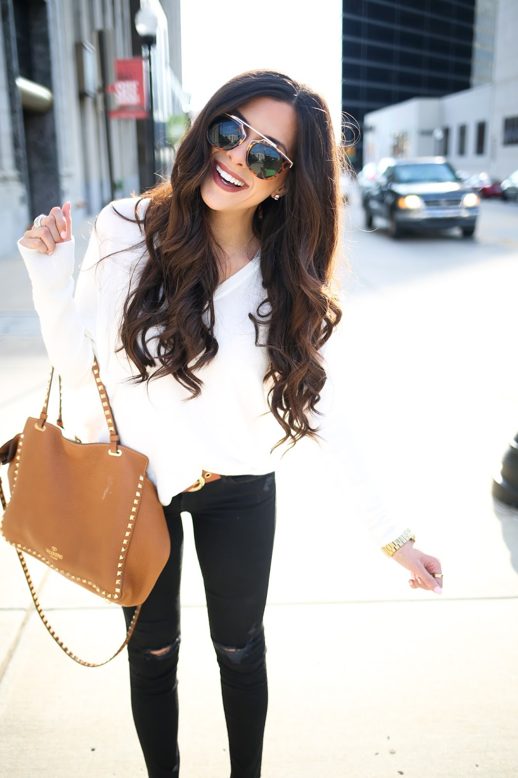 brunette wavy hair tutorial, white sweater with black ripped skinnies, brown booties for fall , cognac booties, nordstrom booties tan, dior So real sunglass lookalike, pinterest fall outfits, pinterest fall ootd 2015, easy and casual fall outfits, brunette medium wavy layered hair, valentino rockstud handbag tan, emily gemma blog, the sweetest thing blog, oversized monogram necklace