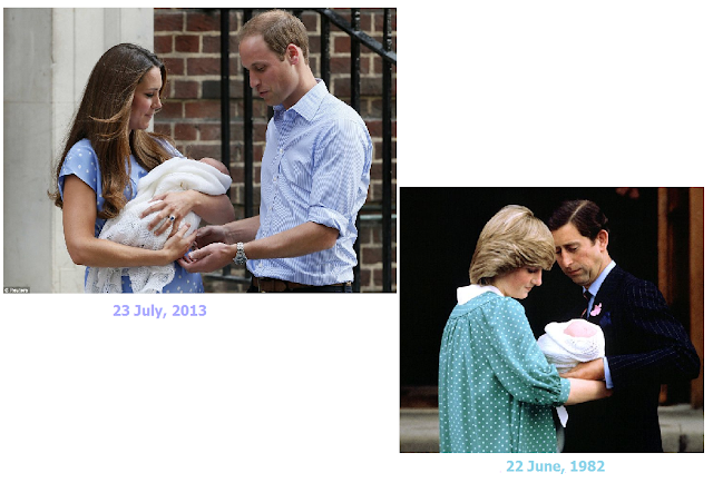 same gesture, same hospital and polka dots, Prince William and Prince George