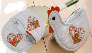 pegador-de-panela- luva - patchwork - galinha - PAP (diy) com molde