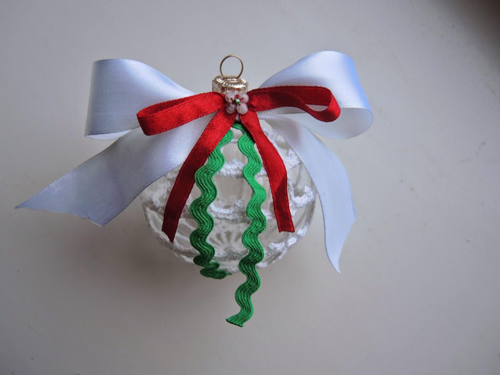 елочные игрушки, шарик, вязание, подарок, новый год