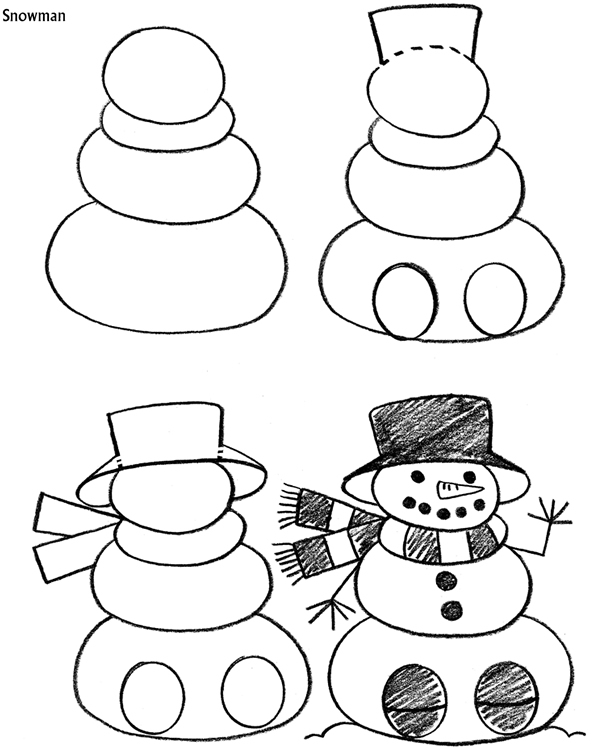 How to Draw a Snowman with Easy Step by Step Drawing Tutorial. Step 1. Start with a circle with a cross section. Step 2. Draw a larger circle at the bottom. Step 3. Draw two smaller circles at each side for the arms. Step 4. Draw an oval on a stick with a triangular shape on top for the broom. Step 5. Draw a long thin rectangle on top of the head. Then draw a triangle on top of that and add a circle on top.