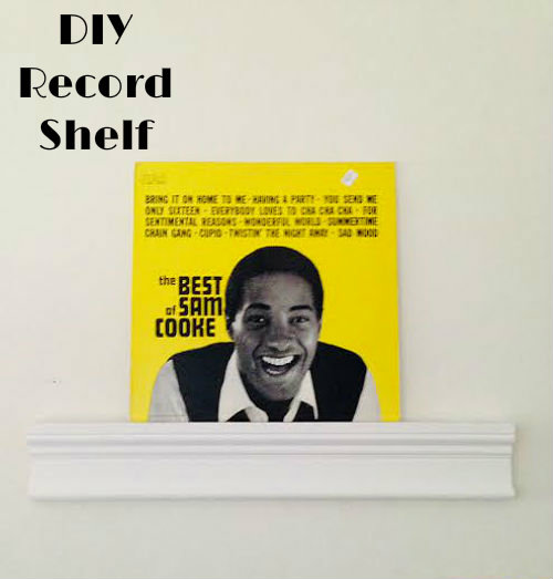 DIY record shelf, easy project, vinyl record display