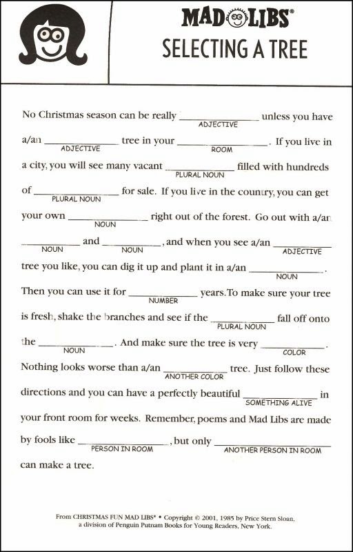 Soft image in christmas mad libs printable