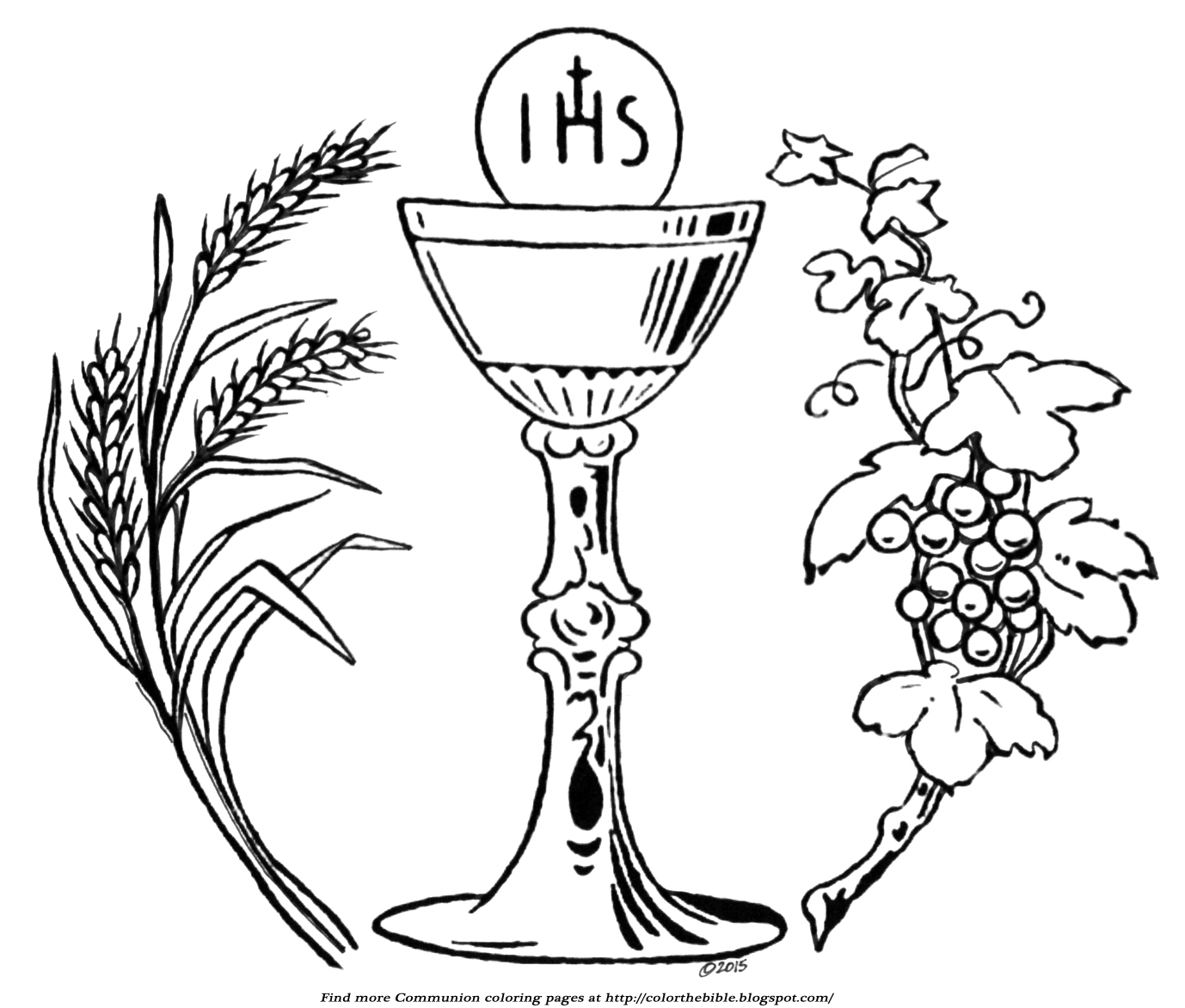 Wheat And Grapes Communion Coloring Page