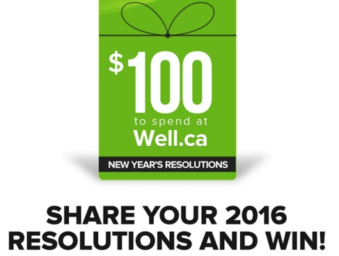 Well.ca New Years Resolution Win $100 Gift Card