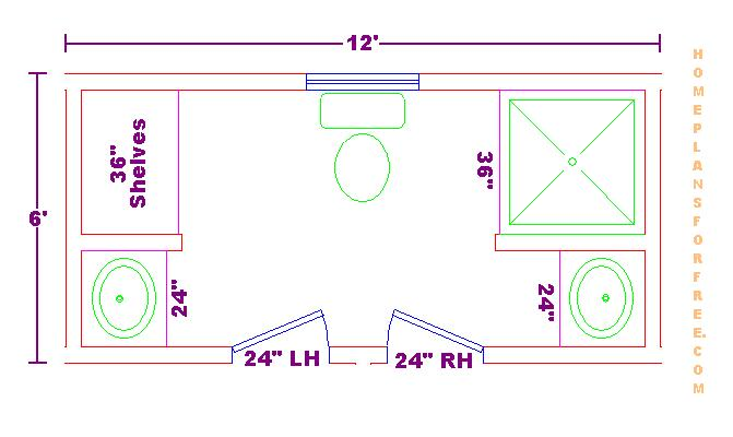 Bathroom plans views for 6 x 14 bathroom layout