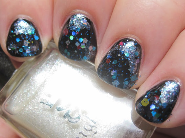 LynBDesigns Ugly Sweater Party and A-England Morgan Le Fay over OPI Black Onyx