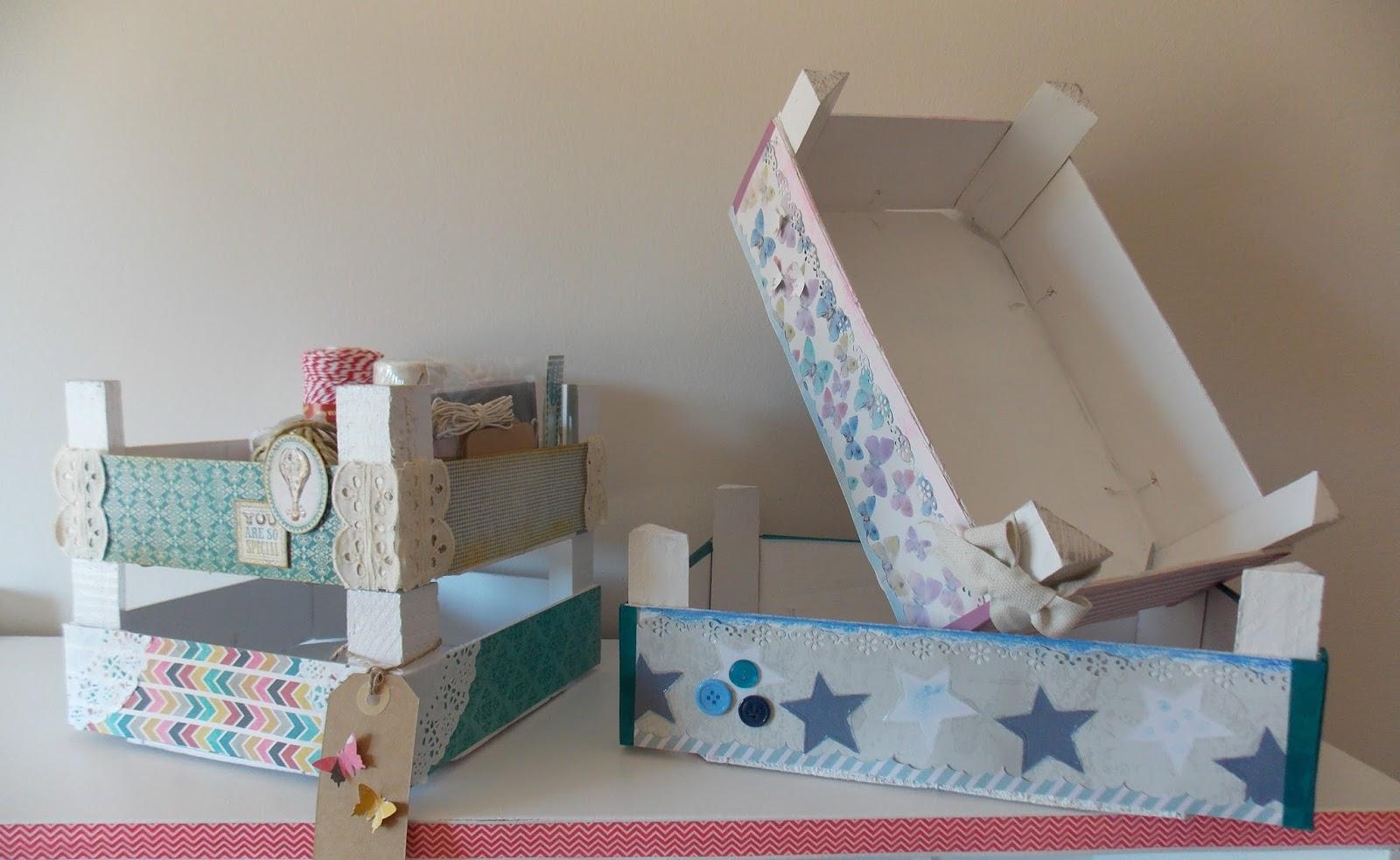 Plumas de papel cajas de frutas customizadas - Como decorar cajas de madera de fruta ...