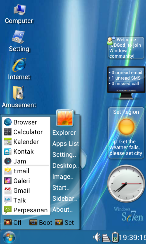 mempunyai tampilan windows7 di android anda tpi yg mirip ada ya kalau ...