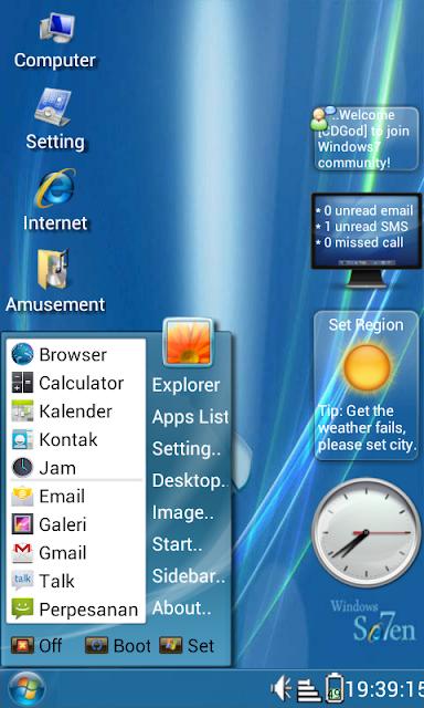 Ingin mempunyai tampilan windows7 di android anda? Tpi yg mirip.? Ada ...