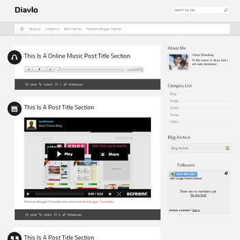 Diavlo blogger template. tumblr template for blogger template