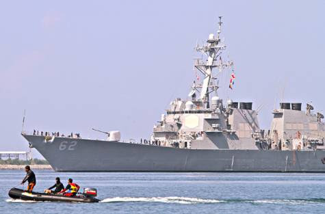US destroyer USS Fitzgerald arrives at the former US naval base in Subic Bay, Olongapo City, north of Manila on June 27, 2013, to join the Cooperation Afloat Readiness and Training (CARAT) exercises close to a flashpoint area of the South China Sea.