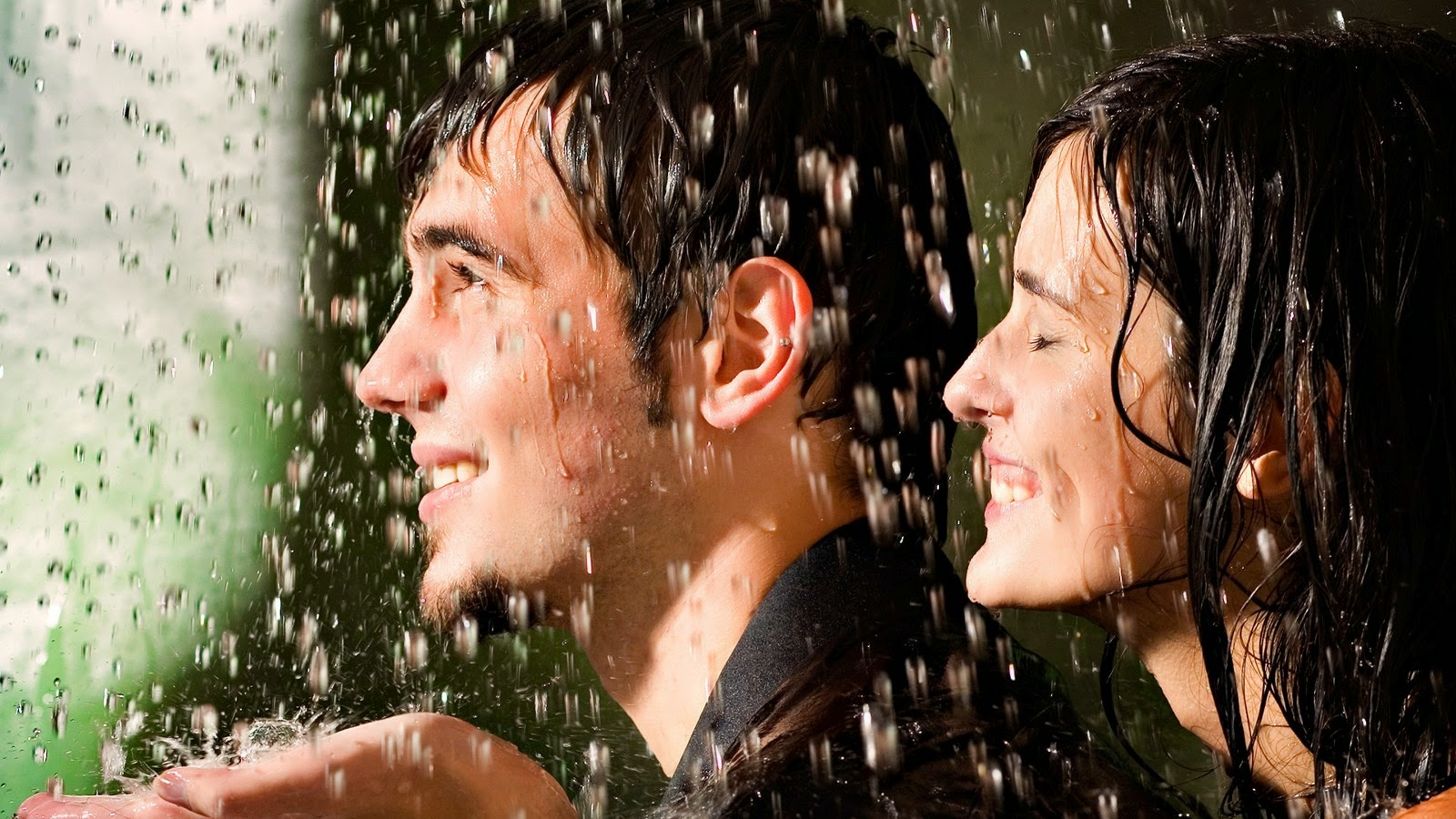 romantic couple in rain - play with rain