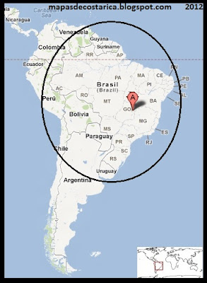 Ubicacin de Brasil en Sudamrica, Google Maps 2012