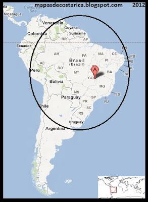 Ubicación de Brasil en Sudamérica, Google Maps 2012