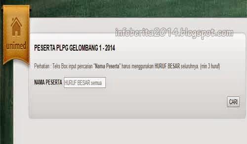 Laman pencarian nama peserta PLPG Unimed