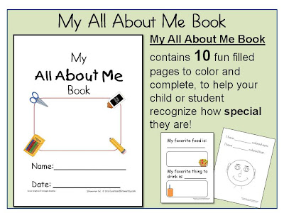 Learn and Grow Designs Website: My All About Me Book & FREE download