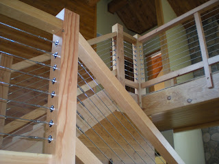 douglas fir and cable railing stairs timber frame huismanconcepts