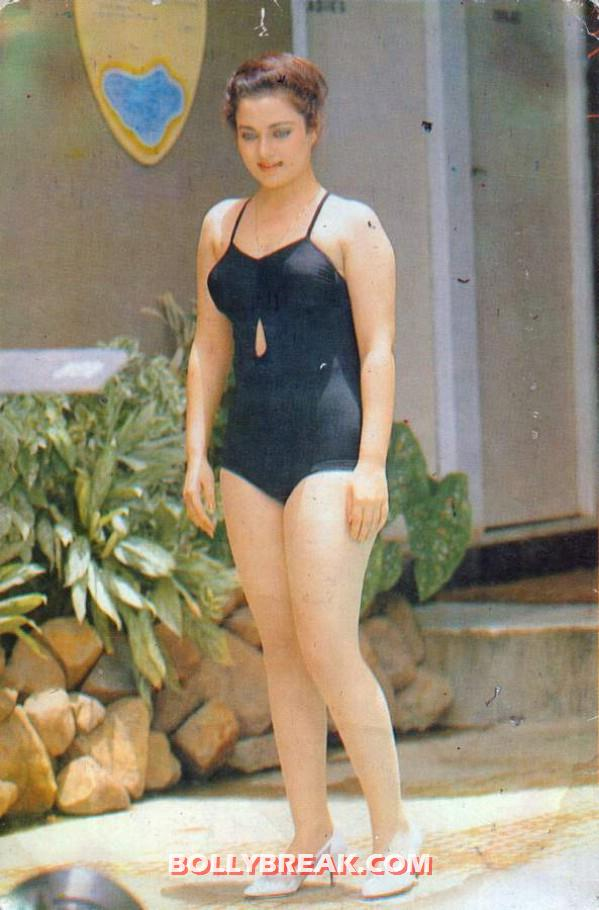 Mandakii in a black bathing suit - Mandakini in bikini photos